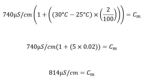 Correcting for temperature compensation in conductivity measurement